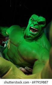 Hong Kong - July 19, 2016: The Hulk at the Madame Tussauds wax museum in The Peak Hong Kong