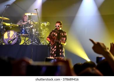 HONG KONG - July 21, 2015: Twenty One Pilot Vocalist Tyler Joseph performed in Soundbox Asia Music Festival