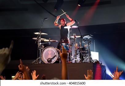 HONG KONG - July 21, 2015: Twenty One Pilot, Drummer Josh Dun performed in Soundbox Asia Music Festival