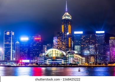 Hong Kong- July 21, 2019: Hong Kong Convention and Exhibition Centre. Panorama of Victoria Harbor of Hong Kong city.