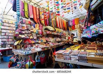 Hong Kong - July 25, 2017: Ladies market. It is a very known street market in Mong Kok district in Tung Choi street where many market stall sell merchandise for women mainly clothing and handbags.