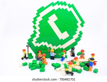 HONG KONG; JULY 25: lego minifigure with the set of city lego in hong kong on 25 july 2017. Legos are a popular line but of plastic construction toys manufactured by The Lego Group in Denmark