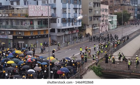 HONG KONG - JULY 27 2019: The moment a tear gas canister explodes during a clash between Hong Kong police and protesters