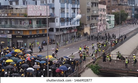 HONG KONG - JULY 27 2019: Tear gas canister explodes during a clash between Hong Kong police and protesters