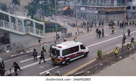 HONG KONG - JULY 27 2019: Hong Kong police vehicles spraypainted by protesters during a clash in the anti-extradition law protest