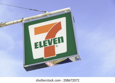 HONG KONG - JULY 29,2014: 7-Eleven logo - 7-Eleven is the world's largest operator, franchiser, and licensor of convenience stores with more than 50,000 outlets.