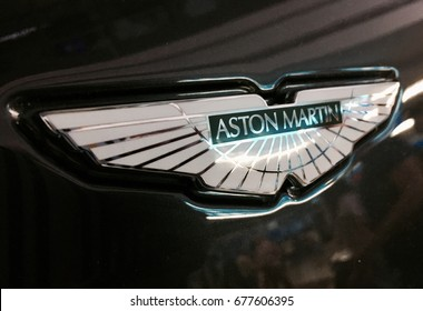 Hong Kong - July 9, 2017: shining new Aston Martin logotype is on black car hood