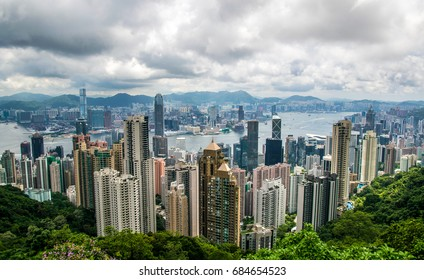 Hong Kong - July 9, 2017: The picture of city-scape of Hong Kong City from the Victoria Peak viewpoint.