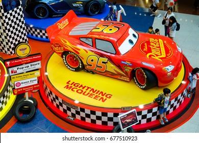 """Hong Kong - july10, 2017: Disney Pixar feature film """"Cars 3"""" Racing Mania. Displays the event at the emporium Hong Kong."""