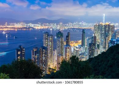 Hong Kong - Jun 11 2017: Hong Kong Night View from Mount Davis in Hong Kong Island, Hong Kong.