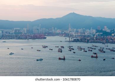 Hong Kong - Jun 11 2017: Hong Kong City View from Mount Davis in Hong Kong Island, Hong Kong.
