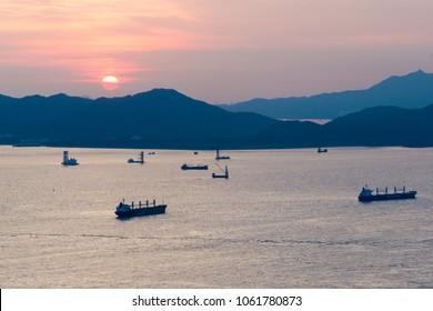 Hong Kong - Jun 11 2017: Sunset View from Mount Davis in Hong Kong Island, Hong Kong.