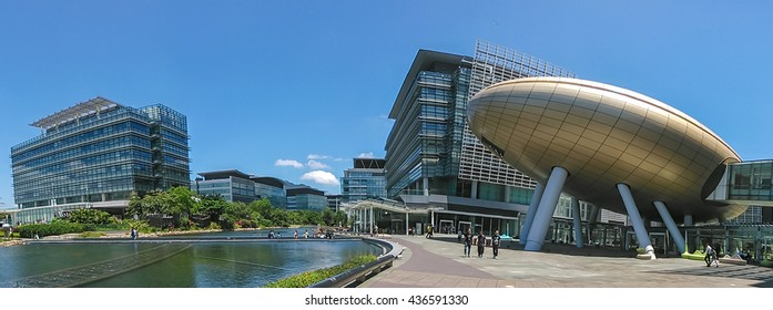 HONG KONG - JUNE 02, 2016: The Hong Kong Science and Technology Park is located in Pak Shek Kok, New Territories, on the boundary of Sha Tin District and Tai Po District.
