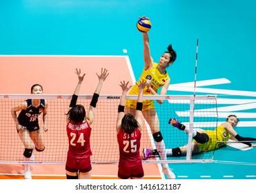Hong Kong - June 06 2019: Zhu Ting of China hits the ball during the FIVB Volleyball Nations League Hong Kong match between China vs Japan in Hong Kong Coliseum, Hong Kong.