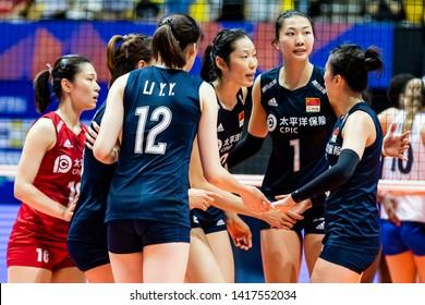 Hong Kong - June 06 2019: Zhu Ting of China (C) celebrates with teammates during the FIVB Volleyball Nations League Hong Kong match between China and Italy.