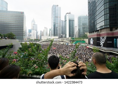 HONG KONG - JUNE 12, 2019: Thousands of protesters gathered around the Legislative Council vowed not to retreat until the government withdraws a controversial extradition bill.