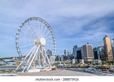 Hong Kong - June 14 2015: The Hong Kong Observation Wheel at the New Central Harbor front, Central District, Hong Kong.