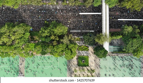 Hong Kong -June 16 2019: 2 million protesters stand out to oppose a controversial extradition bill which may include china. since June 9, hong kong people keep protest to against the extradition law.