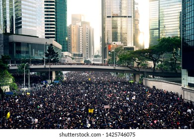 HONG KONG, JUNE 16, 2019: Thousands of people urge the government to withdraw a controversial extradition bill . Organizers claimed nearly two million joined the demonstration.