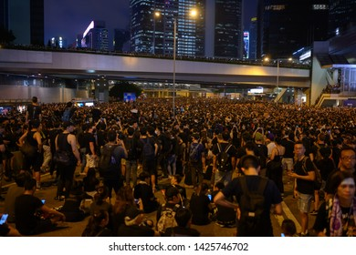 HONG KONG - June 16, 2019: Hong Kong June 16 protest against extradition bill with two million of people on the street.