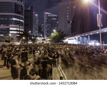 HONG KONG - JUNE 16 2019: hundreds of thousands of Hong Kong people gathered outside the Legislature building and Government Headquarter against the controversial Extradition Bills
