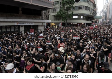 HONG KONG - JUNE 16 2019: a record-breaking 2 million Hong Kong people protesting against the controversial Extradition Bills that allow HK govt to send people back to mainland China for trial.