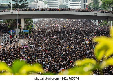 HONG KONG - June 16th 2019:  Anti-Extradition Bill Protest with 2 millions people in Hong Kong. Protest demands the law amendment to be fully retracted, release all prisoners, and Carrie Lam step down