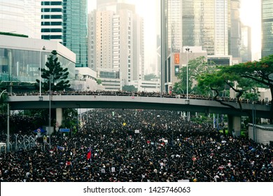 HONG KONG, JUNE 17, 2019: Thousands of people urge the government to withdraw a controversial extradition bill . Organizers claimed nearly two million joined the demonstration.
