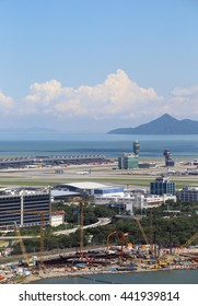 HONG KONG - JUNE 19, 2016: Hong Kong International Airport on June 19, 2016 in Hong Kong, China . The airport bay is undergoing land reclamation to build the Zhuhai-Macau-Hong Kong bridge.