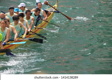 Hong Kong - June 2 2019: the dragon boat contest is begin for the duanwu festival.