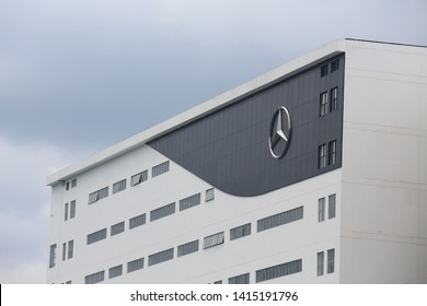 Hong Kong - June 2 2019- Mercedes-Benz factory in hong kong. Mercedes-Benz is a German global automobile marque and a division of Daimler AG