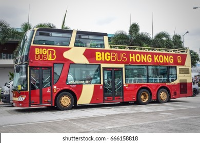 Hong Kong- June 2017: Big Bus Tours is famous for sightseeing and it takes to all the best Hong Kong landmarks and attractions.