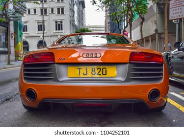Hong Kong: June 2018: Beautiful Audi R8 car.
