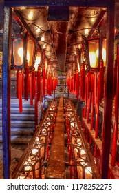 Hong Kong: June 2018: Inside Man Mo Temple.
