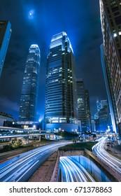 Hong Kong - JUNE 24, 2017: Vehicles Pass through the busiest rod in CBD of Hong Kong