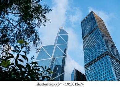 HONG KONG - JUNE 26, 2015: Modern Buildings in Hong Kong, Skycrappers