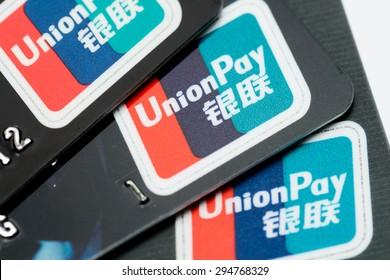 HONG KONG - JUNE 26, 2015: Union Pay Card Sign Close Up