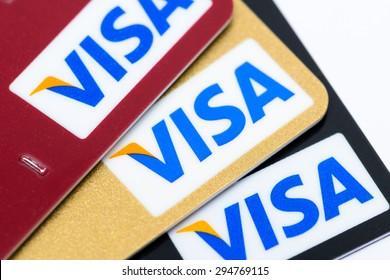 HONG KONG - JUNE 26, 2015: VISA Card Sign Close Up