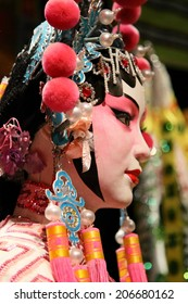 HONG KONG - JUNE 27, 2014 : Cantonese opera dummy with traditional makeup on June 27, 2014 in Hong Kong. Originating in southern China, Cantonese opera is a popular theatrical art in Hong Kong.