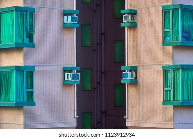 HONG KONG - JUNE 30, 2018: Closeup of the outer sewage tubes on the wall of the high floor condominium.