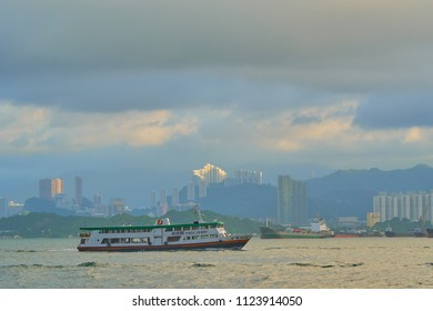 HONG KONG - JUNE 30, 2018: First Ferry boat in Victoria Harbour.