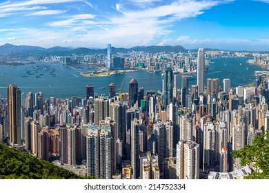 Hong Kong - June 4 2014: Hong Kong Victoria Harbour is the famous attraction place for tourist to visit. View of Hong Kong from Victoria Peak. This is one of the most dense cities in the world