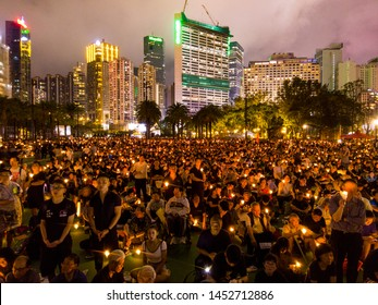 HONG KONG - JUNE 4 2019: Sea of candle during the 30th Anniversary for Tiananmen Masscre in 1989. Candlelight Vigil is held at Victoria Park, Hong Kong every year since 1990.