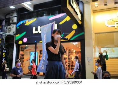 Hong Kong - June 4 2020: Agnes Ting Chow, member of Demosistō, have a speech on the street