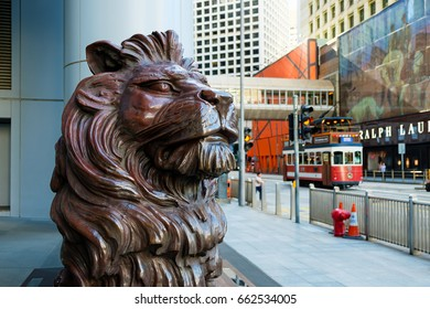 Hong Kong - June 7 2017: HSBC lion near the headquarters building of The Hongkong and Shanghai Banking Corporation in Central on June 7 2017. HSBC holding is the main bank in Hong Kong