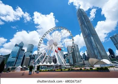 Hong Kong - June 7 2017: The Hong Kong Observation Wheel at the New Central Harborfront, Central District, Hong Kong.
