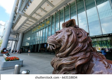 Hong Kong - June 8 2017: HSBC lion near the headquarters building of The Hongkong and Shanghai Banking Corporation in Central on June 8 2017. HSBC holding is the main bank in Hong Kong