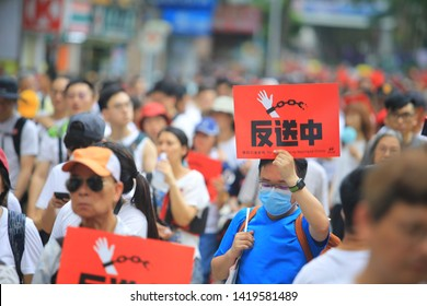 Hong Kong- June 9 2019: the crowd protest in the rally. More than 150,000 protesters took to the streets of Hong Kong Sunday to oppose a controversial extradition bill