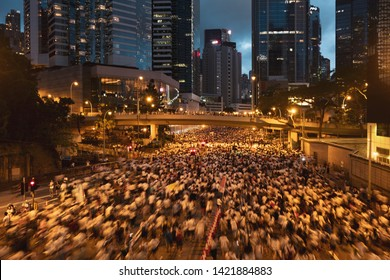 Hong Kong - June 9, 2019:  Over a million attend Hong Kong demo against controversial extradition law