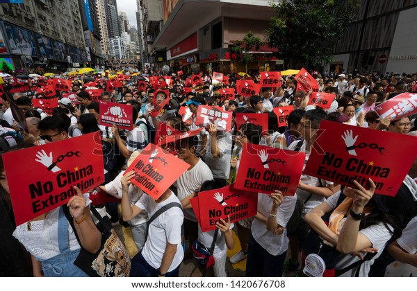 HONG KONG - JUNE 9, 2019: Thousands of protesters marched against a controversial extradition bill. Organizers claimed there were more than one million on the street.